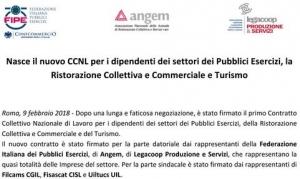 Nuovo contratto per i dipendenti dei Pubblici Esercizi