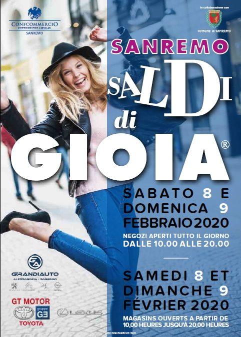 """8-9 Febbraio 2020 A Sanremo ritornano """"I Saldi di Gioia"""""""